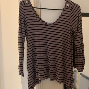 Charlotte Russe Striped Shark Bite Top